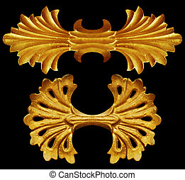 设计, 元素, 金子, 葡萄收获期, 装饰物, 植物群