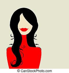 设计, 妇女, 方式, 你, 肖像
