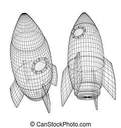 设计, 概念, 启动, rocket., 空间