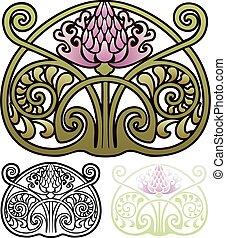 设计, 风格, 艺术nouveau, 蓟, 装饰物