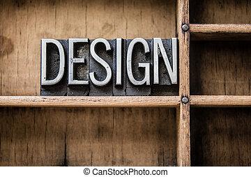 设计, letterpress, 类型, 在中, 抽屉