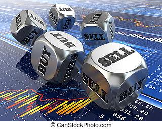 证券市场, concept., 骰子, 在上, 金融, graph.