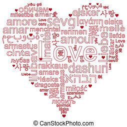 词汇, 爱, 形成, a, 心形状
