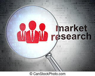 词汇, render, 商务人士, 研究, 玻璃, 光学, 市场, 数字, 图标, 扩大, 背景, 3d