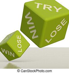 试图, 取得胜利, 失去, 绿色, 骰子, 显示, 赌博, 同时,, 机会