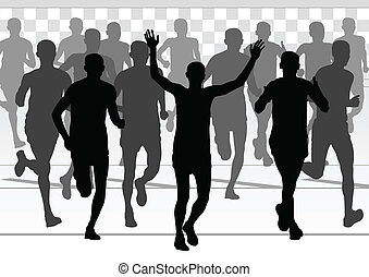 详尽, 妇女, 马拉松, 活跃, 跑的人, 人