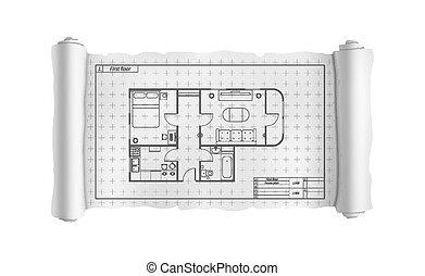详尽, 建筑物, 蓝图, 房子, 工程, 白色, 卷, 计划