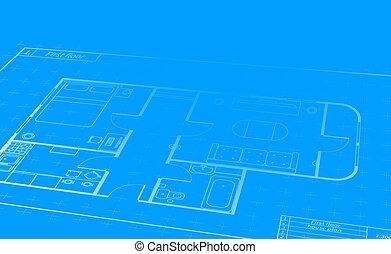详尽, 建筑物, 蓝图, 房子, 工程, 观点, 白色, 卷, 计划