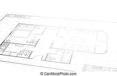 详尽, 建筑物, 蓝图, 正文, 工程, 地方, 观点, 房子, 白色, 卷, 计划