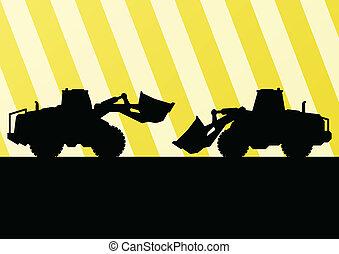 详尽, 推土机, excavator, 站点, 描述, 侧面影象, 矢量, 背景, 建设, 拖拉机