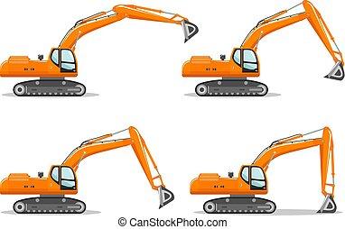 详尽, 重, 不同, illustration., excavator, equipment., 采矿, 描述, 机器, 矢量, position., 繁荣, 建设