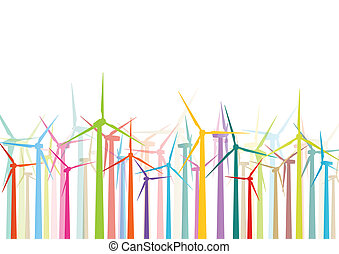 详尽, 风车, 生态, 色彩丰富, 电, 描述, 侧面影象, 矢量, 发电机, 收集, 背景, 风