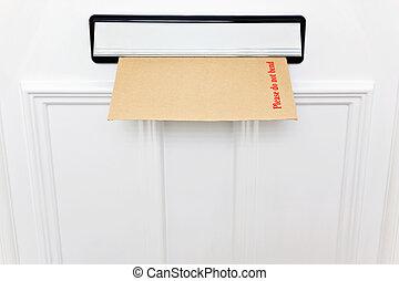 请, 做, 没有, 弯曲, 信封, 在中, a, letterbox