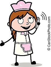 谈话, -, 描述, 厨师, 电话, 矢量, retro, 女性, 卡通漫画, 女服务员