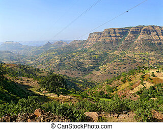 谷, 村, エチオピア, 山。, アフリカ。