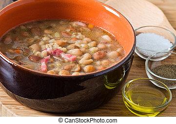 豆, つづられた, soup., borlotti