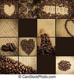 豆, コーヒー, コラージュ