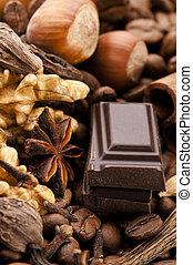 豆, コーヒー, スパイス, ナット, チョコレート