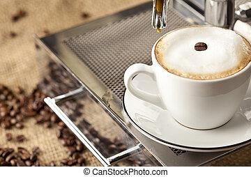 豆, コーヒー, フルである, エスプレッソ, カップ