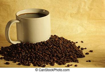 豆, コーヒー, 山, 暑い, カップ