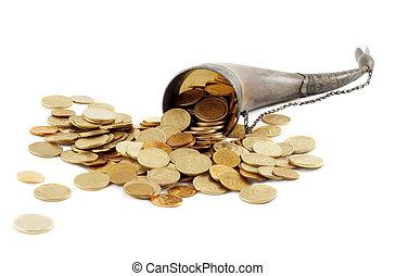 豊富, 骨, フルである, の, 金コイン