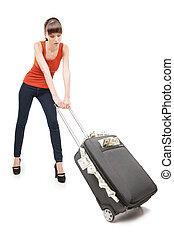 豊富, woman., 美しい, 若い女性, 届く, a, スーツケース, フルである, の, お金, 間,...