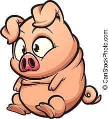 豚, わずかしか, 脂肪