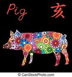 豚, 中国語, カラフルである, 印, 黄道帯, 花
