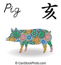 豚, 中国語, 色, 印, 黄道帯, 花, 幾何学的