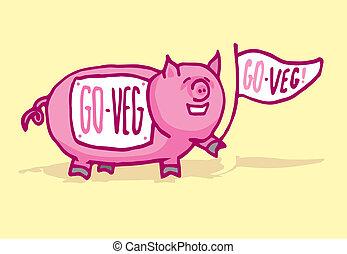 豚, 面白い, veganism, 支持
