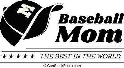 象征, 背景。, 矢量, 棒球, 媽媽, 繫牢, 帽子, 白色