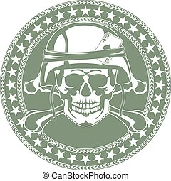 象征, a, 头骨, 在中, a, 军方, 钢盔