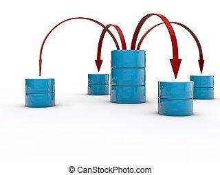 象徴的, データ, 交換, ∥間に∥, データベース, symbolyzed, によって, 赤, 矢