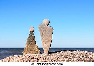 象徴的, 小立像, の, 石