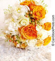 象牙, 花束, 型, 結婚式, オレンジ, 白