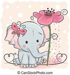 象, カード, 花, 挨拶