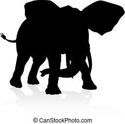 象, 動物, シルエット