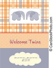 象, 2, シャワー, 双子, 赤ん坊, カード