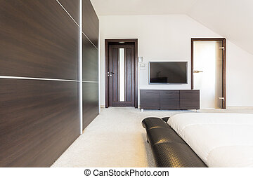 豪華, 寢室, 在, 現代, 設計