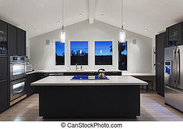 豪華, 廚房, 在, a, 現代, house.
