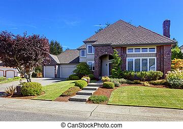 豪華, 房子, 由于, 磚牆, 修剪, 以及, 美麗, 遏制, 請求