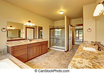 豪華, 浴室, 內部, 由于, 花崗岩, 修剪, 以及, 二, 空虛, cabinets.
