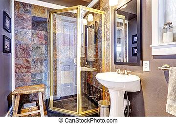 豪華, 浴室, 由于, 瓦片, 牆, 修剪