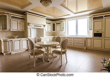 豪華, 現代, 適合, 廚房, interior., 廚房, 在, 豪華家, 由于, 原色嗶嘰, cabinetry., 桌子, 以及, 椅子