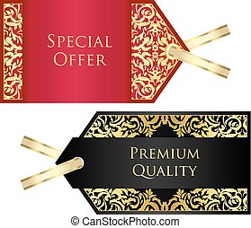 豪華, 紅色, 以及, 黑色, 標价牌, 由于, 黃金, 葡萄酒, 圖案