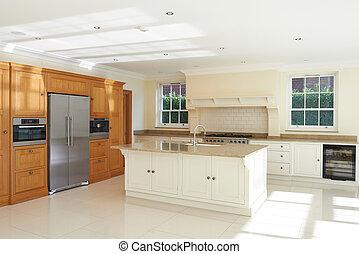 豪華, 適合, 廚房, 在, 美麗, 家
