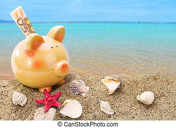 豬一般的銀行, 上, 沙子, 由于, 夏天, 海, 背景