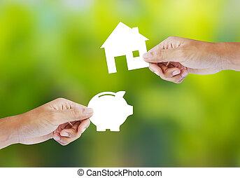 豬一般的銀行, 以及, 房子, 形狀