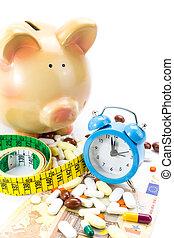豬一般的銀行, 由于, 藥丸的堆, 銀行