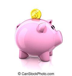 豬一般的銀行, 由于, 黃金, 硬幣